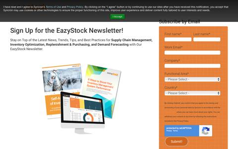 Screenshot of Signup Page eazystock.com - Subscribe to our newsletter - captured July 15, 2018