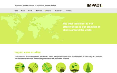Screenshot of Case Studies Page impact-coaches.com - Impact-Coaches - High impact business coaches for high impact business leaders. - captured Feb. 2, 2016
