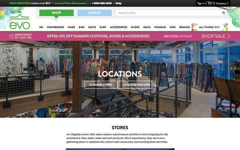 Screenshot of Locations Page evo.com - evo Locations | evo - captured Aug. 21, 2016