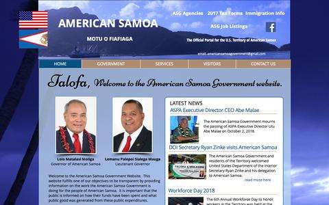 Screenshot of Home Page americansamoa.gov - american samoa - captured Oct. 3, 2018