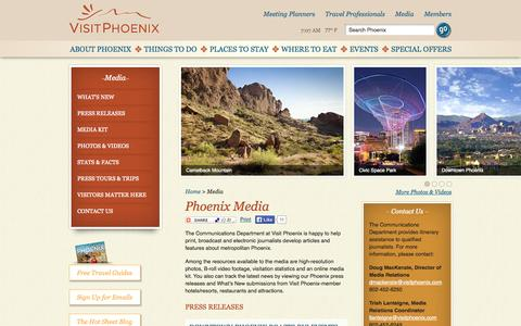 Screenshot of Press Page visitphoenix.com - Media Resources In Phoenix | Phoenix Press Releases : VisitPhoenix.com - captured Sept. 19, 2014