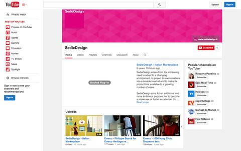 Screenshot of YouTube Page youtube.com - SedieDesign  - YouTube - captured Nov. 5, 2014