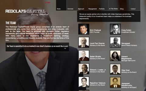 Screenshot of Team Page redclays.com - Redclays Capital - Private Equity Venture Capital bangalore india - Management Team - captured Oct. 27, 2014