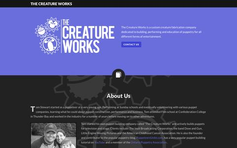Screenshot of Home Page thecreatureworks.ca - The Creature Works - captured Sept. 30, 2014