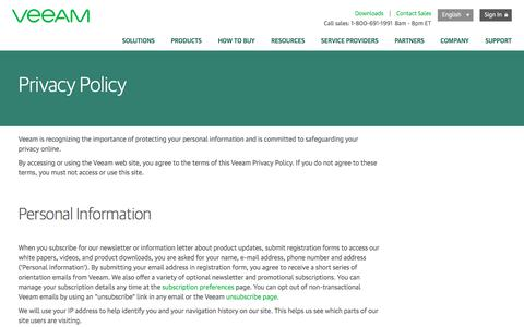 Screenshot of Privacy Page veeam.com - Veeam: Privacy Policy – how we use your personal information, use of third party services, cookies - captured Oct. 24, 2017