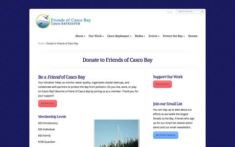 Screenshot of Support Page cascobay.org - Donate to Friends of Casco Bay | Friends of Casco Bay - captured Oct. 6, 2014