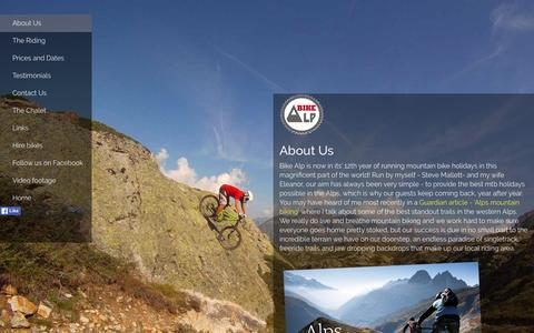 Screenshot of About Page bike-alp.com - Mountain Bike Holidays in the Alps. Epic Alpine singletrack from the author of the book 'Alps mountain biking' - captured June 13, 2016