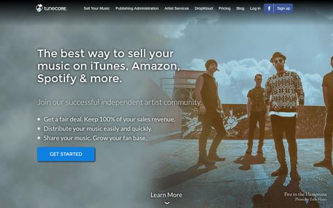 Screenshot of Home Page tunecore.com - Sell Your Music Online - Digital Music Distribution | TuneCore - captured Dec. 2, 2015