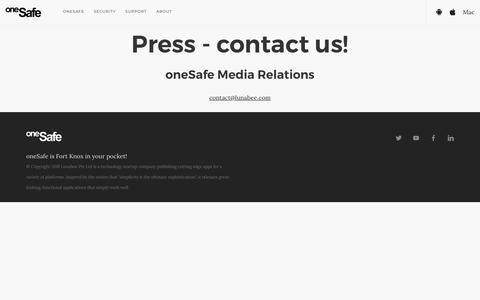 Screenshot of Press Page onesafe-apps.com - Press - captured Oct. 29, 2019