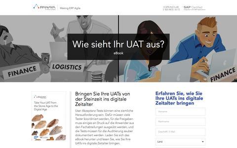 Screenshot of Landing Page panaya.com - Modern Age UAT Testing eBook - captured Feb. 3, 2017