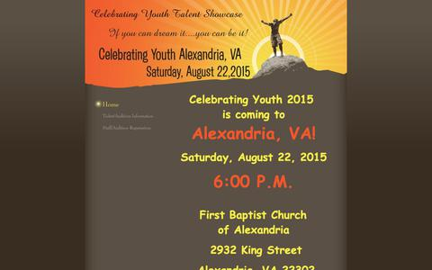 Screenshot of Home Page celebratingyouth.net - Celebrating Youth Alexandria, VA  - Home - captured Nov. 4, 2018