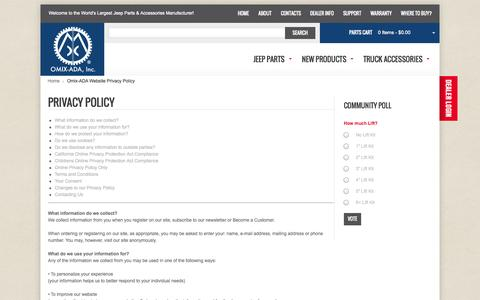 Screenshot of Privacy Page omix-ada.com - Omix-ADA Website Privacy Policy - captured Oct. 26, 2014