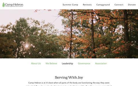 Screenshot of Team Page camphebron.org - Leadership | Camp Hebron - captured Feb. 14, 2019