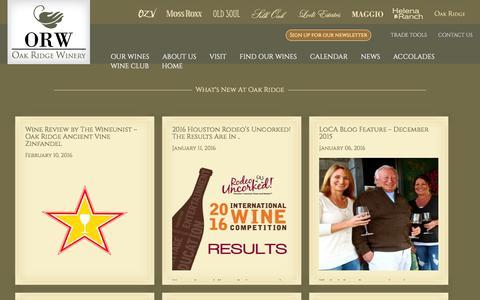 Screenshot of Press Page oakridgewinery.com - News - Oak Ridge Winery - captured Feb. 25, 2016
