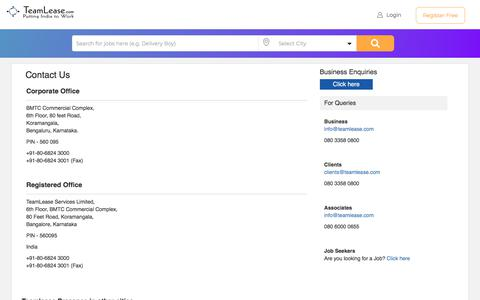 Screenshot of Contact Page teamlease.com - Contact us | TeamLease Corporate & Registered Office address - captured July 20, 2019