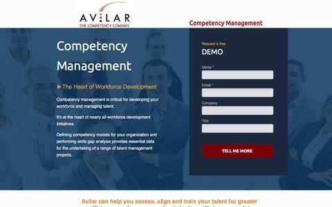 Screenshot of Landing Page avilar.com - Avilar - Competency Management - captured April 7, 2017
