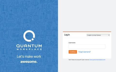 Screenshot of Login Page quantumworkplace.com - Login | Quantum Workplace - captured Jan. 27, 2020