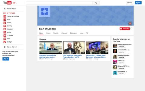Screenshot of YouTube Page youtube.com - EMA of London  - YouTube - captured Oct. 26, 2014