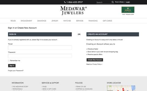Screenshot of Login Page medawars.com - Medawar Jewelers: Sign In to Your Account - captured Oct. 23, 2017