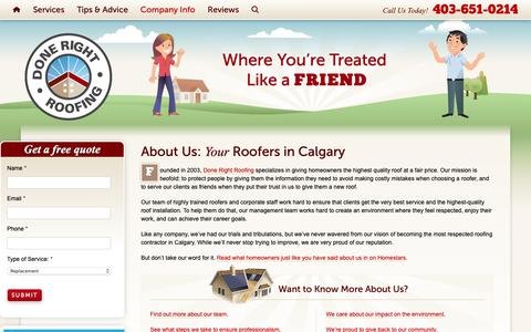 Screenshot of About Page calgaryroofingdoneright.com - Roofers in Calgary With a Difference | Done Right Roofing - captured Oct. 9, 2018