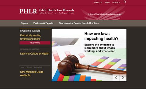 Screenshot of Home Page Terms Page publichealthlawresearch.org - Home | Public Health Law Research - captured Oct. 3, 2014