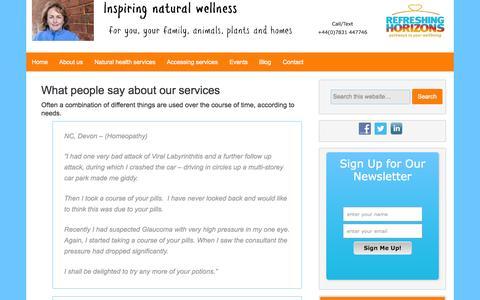Screenshot of Testimonials Page refreshinghorizons.com - Testimonials | Refreshing Horizons - captured Nov. 5, 2014