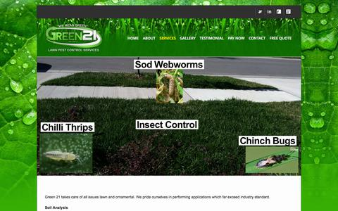 Screenshot of Services Page green21lawn.com - Services - Green 21 Lawn Pest Control Services - captured Oct. 3, 2014