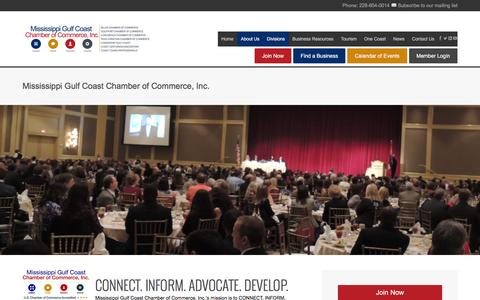Screenshot of About Page mscoastchamber.com - Mississippi Gulf Coast Chamber of Commerce, Inc. - captured Feb. 18, 2016