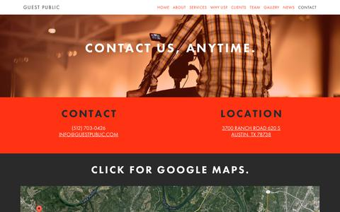 Screenshot of Contact Page guestpublic.com - Guest Public | Contact Us. - Guest Public - captured July 25, 2018
