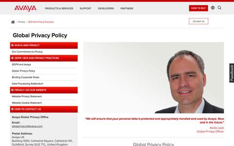 Screenshot of Privacy Page avaya.com - Avaya - Global Privacy Policy - captured Aug. 11, 2018