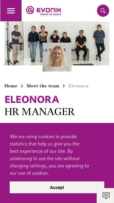 Screenshot of Team Page  evonik.com - Eleonora                                                                - Evonik Careers