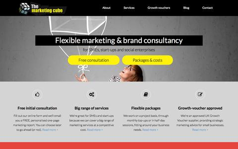Screenshot of Home Page themarketingcube.com - Marketing and brand consultancy for SMEs, start-ups and social enterprises | | The Marketing Cube - captured Sept. 30, 2014