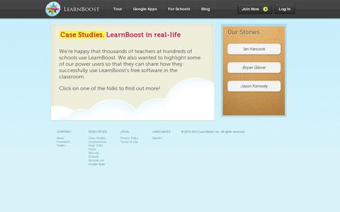 Screenshot of Case Studies Page learnboost.com - Case Studies | Gradebook - captured July 19, 2014