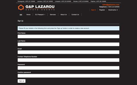 Screenshot of Signup Page gplazarou.com - Sign Up - G & P Lazarou - captured Nov. 9, 2018