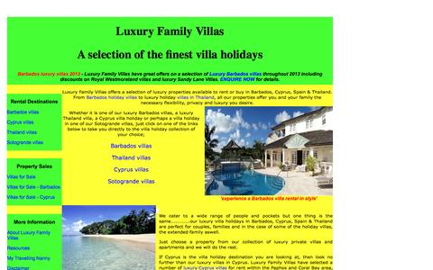 Screenshot of Home Page luxuryfamilyvillas.com - Luxury Barbados villas plus villa holidays in Cyprus, Spain and Thailand from Luxury Family Villas - captured Sept. 30, 2014