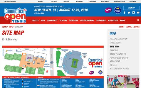 Screenshot of Site Map Page ctopen.org - Site Map | Connecticut Open - captured Sept. 29, 2018
