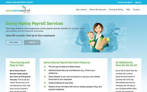 Screenshot of Home Page savvynannypayrollservices.com - Savvy Nanny payroll services - captured July 7, 2018