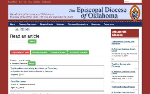 Screenshot of Press Page episcopaloklahoma.org - Diocese of Oklahoma - captured Oct. 2, 2014