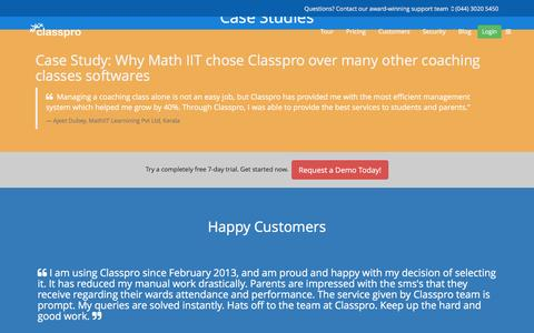 Screenshot of Case Studies Page classpro.in - Case Studies - captured May 17, 2017