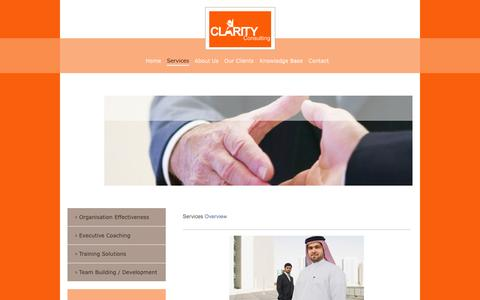 Screenshot of Services Page wemaketeams.com - Clarity Consulting - We Make Teams! - Saudi Arabia - Services - captured Oct. 2, 2014