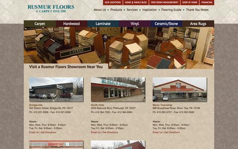 Screenshot of Locations Page rusmurfloorscarpetone.com - Rusmur Floors: With locations in Bridgeville, North Hills, Moon Twp., Murrysville, and Whitehall. - captured Sept. 30, 2014