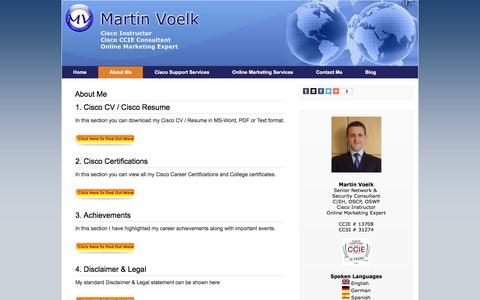 Screenshot of About Page martinvoelk.com - Cisco CV, Cisco Resume, Cisco Certifications, Testimonials, Newsletter & Achievements | Martin Voelk - captured Jan. 23, 2016