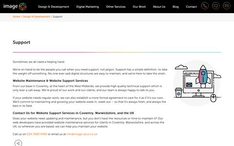 Screenshot of Support Page image-plus.co.uk - Website Maintenance & Website Support in Coventry, Warwickshire, UK – Image Plus - captured Oct. 11, 2018