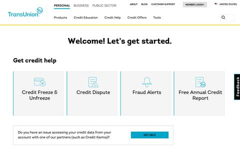 Screenshot of Contact Page Support Page transunion.com - Contact Us | TransUnion - captured May 9, 2019