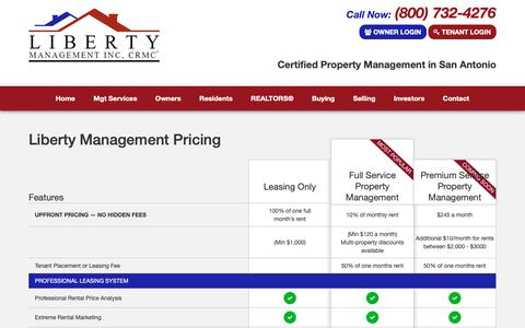 Screenshot of Pricing Page libertymgt.net - Pricing - captured Sept. 28, 2018