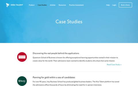 Screenshot of Case Studies Page kiratalent.com - Case Studies - Kira Talent - captured Nov. 9, 2017