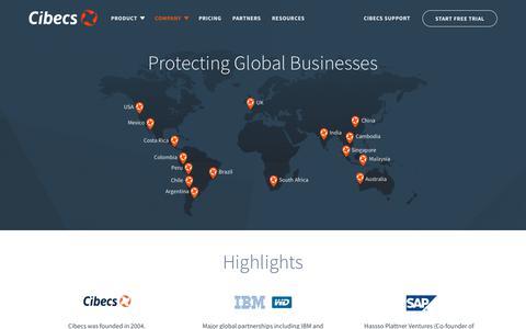 Screenshot of About Page cibecs.com - Cibecs Endpoint Backup, Security and Protection Solution : Cibecs - captured July 18, 2018