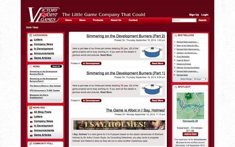 Screenshot of Press Page victorypointgames.com - News - captured Sept. 23, 2014