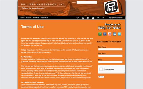 Screenshot of Terms Page philsystems.com - Terms of Use - Philippi-Hagenbuch - Custom equipment for off-highway haul trucks - captured Sept. 28, 2018