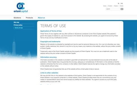 Screenshot of Terms Page orientcap.com - Orient Capital   Terms of use - captured Oct. 26, 2014